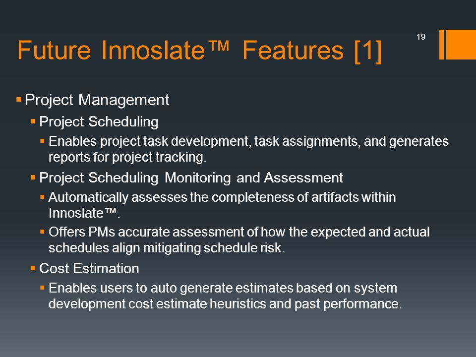 Future Innoslate™ Features [1]